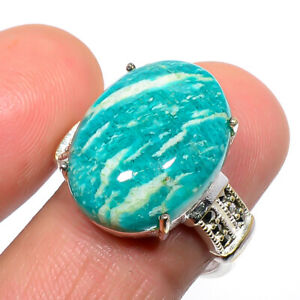 Russian Amazonite & Marcasite 925 Sterling Silver Handmade Ring s.Ad T8667
