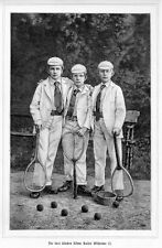 Tennis, the three oldest sons Kaiser Wilhelm II, Original Wood Engraving from 1894