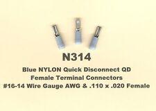 50 Blue Female Quick Disconnect QD NYLON Connectors #16-14 Wire Gauge .110 MOLEX