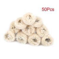 "50Pcs 1"" Cotton Thread Polishing Brush Wheel Buffing Pad for Grinder 1/8"" Shank"