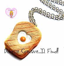 Collana Con toast in miniatura con uovo - idea regalo fimo kawaii miniature