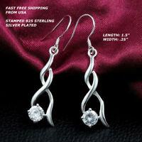 Women Fashion Jewelry 925 Sterling Silver Plated Crystal Dangle Hook Earrings