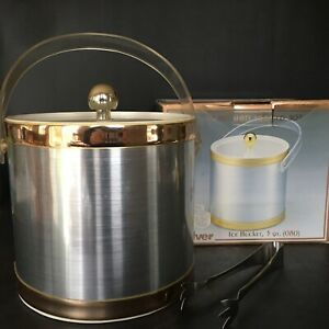 Culver Brushed Silver and Gold Ice Bucket 3 QT w Original Box 794