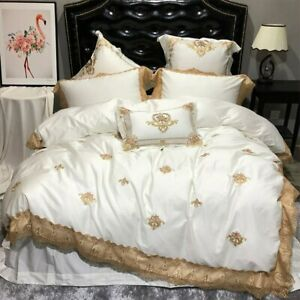Luxury Royal Lace Bedding Set Queen King Extra King Bed Sheet Duvet Cover Set