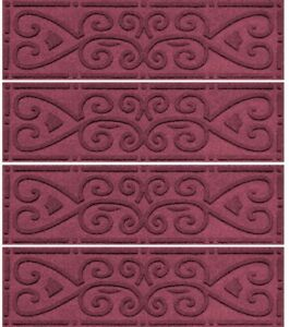 8.5 in. x 30 in. Stair Tread Cover Scroll w/ Slip-Resistance, Red/Pink(Set of 4)