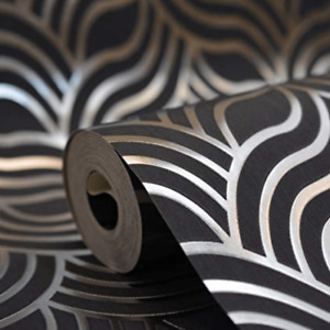 Muriva Art Deco Foil Blue And Silver Geometric Wallpaper 601535