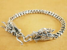 """New Oxidized Bali Style Dragons Scales 925 Sterling Silver Bracelet 7.5"""" 26g"""