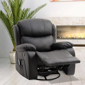 Massage Sofa Chair PU Leather Heating Recliner Armchair Rocker Remote Footrest