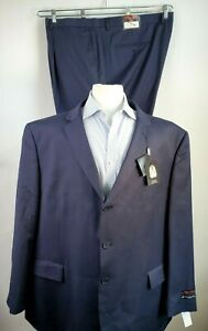 Linea Uomo Men 56R 52W NAVY Blue 100% Wool Suit Travel Lux Classic Fit NWT