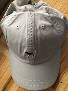 Victorias Secret PINK Gray Hat Baseball Cap Puppy Dog Adjustable One Size NWT