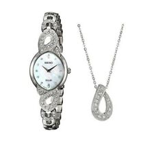 Seiko Women's Mother of Pearl Quartz Solar Watch Swarovski Bracelet Set SUP367