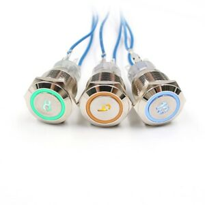 19mm Metal Stainless Steel Number Symbol Momentary Push Button Switch LED 5V 12V