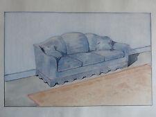 Aquarelle architecture déco d'intérieur - Projet de canapé en velours - C.1940