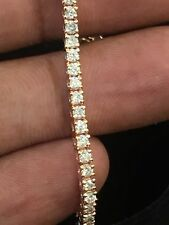Pave 2.50 Cts Natural Diamonds Tennis Bracelet In Solid Certified 14Carat Gold