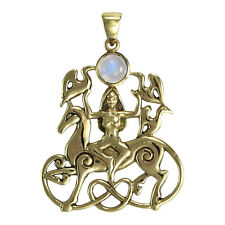Bronze Rhiannon Pendant Rainbow Moonstone - Dryad Design - Celtic Horse Goddess