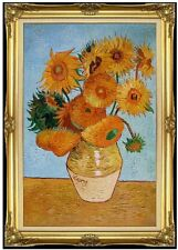 Framed Van Gogh Sunflowers Repro, Hand Painted Quality Oil Painting 24x36in
