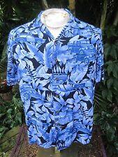HAWAIIAN Aloha SHIRT S pit to pit 21 PANAMA JACK rayon vintage cars blue floral