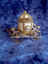 Russian Empress Alexandra White Carriage Egg with Egg Pendant Necklace
