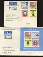 GHANA LINCOLN 1965 SET + SHEET REGISTERED FDCs...2 COVERS