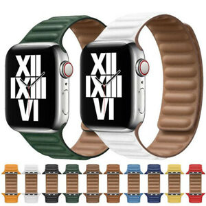 Magnetic Leather Link Loop Wrist Band Strap 38-44mm For iWatch Series SE 6 5 4 3