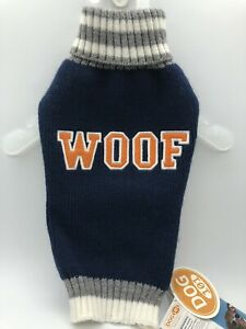 Dog Sweater WOOF Navy Blue Size Small