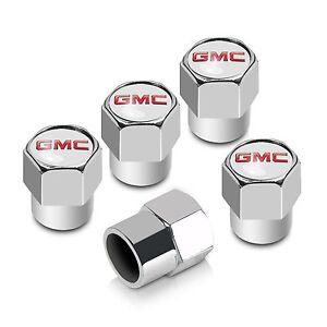 GMC Chrome Tire Stem Valve Caps Set