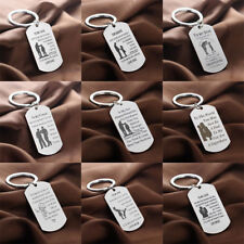 Dog Tag Mother Father Keychain Daughter Son Teacher Keyrings Friend Gifts Family