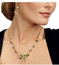 Parure Collier Boucles d`Oreilles Doré Email  Vert Feuille Perle de Culture L7
