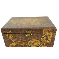 Vintage Hand Carved Wood Pyrography Hinged Box Roses Flowers Marked Acorn