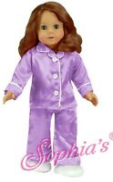 """Doll Clothes 18"""" Satin Lavender Pajamas Slippers Fits American Girl Dolls"""