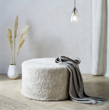 NEW The White Company Luxurious Sheepskin Round Pouffe Pearl RRP £495