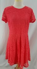 New Apt 9 Womens Dress Coral Lace Cap Sleeves Lined Nylon Cotton Size 14