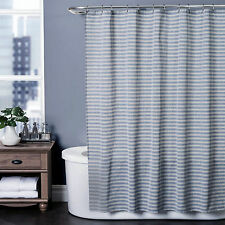 "Arcadia Indigo Gray White Horizontal Stripes Woven Fabric Shower Curtain 72"" NIP"