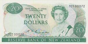 P173b NEW ZEALAND TWENTY DOLLARS BANKNOTE FIRST PREFIX IN MINT CONDITION