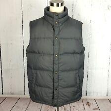 Lands End Mens Puffer Vest Size L 42 44 Large Goose Down Gray Snap Ski Spring