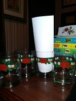 LOT OF 4 Tienshan Deck The Halls 14oz Double Old Fashion Glasses FREE SHIP