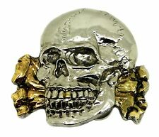 Skull Belt Buckle Fractured Skull Crossed Bones Gothic Dragon Designs 24ct Gold