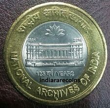 2016 Bimetallic BIMETAL National Archives Of India Lotus Coin 10 Rs Unc NEW