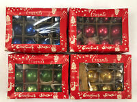 Set of 4 12 CT Boxes Vintage Grants Christmas Shop Miniature Ball Ornaments