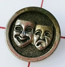 """Antique Vintage Metal Shank 3/4"""" Button with Theater Arts Masks - Silver Toned"""