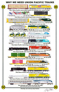 """Union Pacific Why We Need Trains 11""""x17"""" Poster by Andy Fletcher signed"""