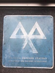 Vintage Metal Car Garage Sign - MOT Testing Centre Worn Patina