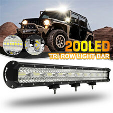 29Inch 200SMD LED Tri Row Work Light Bar Flood Spot Combo Offroad Truck SUV Lamp
