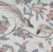 "0.55 meters x SCHUMACHER ""Campagne"" linen fabric exotic birds Peacock/Rouge"