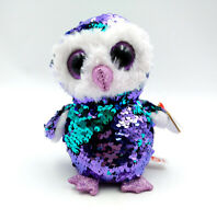 "6"" TY Beanie Boo Moonlight With Tag Purple Owl Plush Stuffed Toys Glitter Eyes"