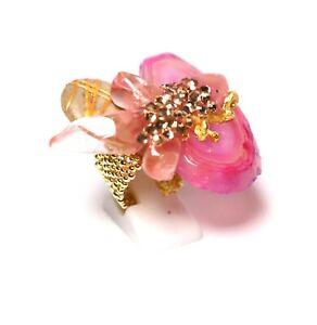 Pink Agate Ring size 7 Gold Plated Patricia Adelson EXCLUSIVE DESIGN
