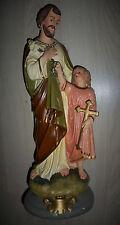 ANCIENNE STATUE RELIGIEUSE/SAINT JOSEPH ET L'ENFANT JESUS/PLATRE/H.45,5cm/N°4