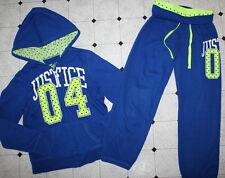 JUSTICE Royal Blue Neon Green Sweatsuit Pants Hoodie Jacket Set Girl Size 8