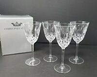 "Set of 4 Christopher Stuart CAMEO 7"" Wine Crystal Glasses w/ Original Box"