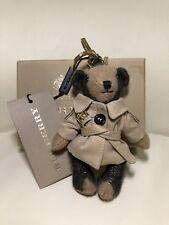 New BURBERRY Thomas Bear Key Chain Charm Ring Camel Trench Coat Cashmere W/BOX